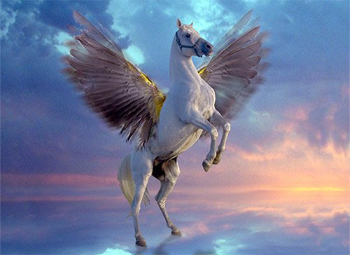 Pegasus, the winged horse in Greek Mythology