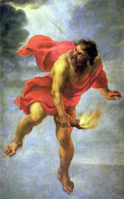 prometheus stealing fire from gods