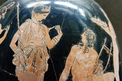 ancient vase with aphrodite and adonis